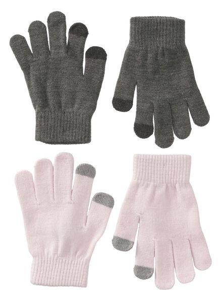 2-pak kinderhandschoenen grijsmelange grijsmelange - 1000009616 - HEMA