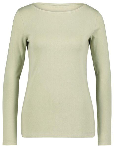 dames t-shirt boothals lichtgroen S - 36238061 - HEMA