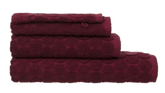 handdoeken - zware kwaliteit - gestipt donkerrood donkerrood - 1000015160 - HEMA