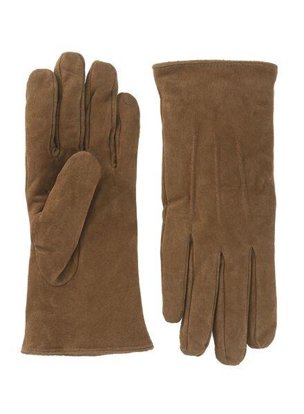 dameshandschoenen suède bruin M - 16460332 - HEMA