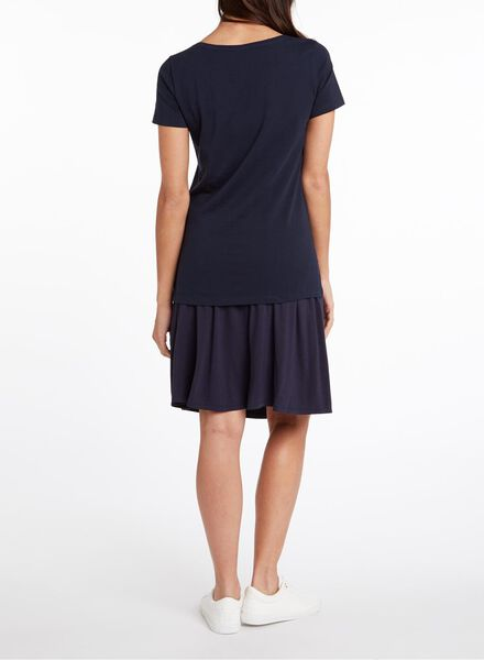 dames t-shirt donkerblauw M - 36301766 - HEMA