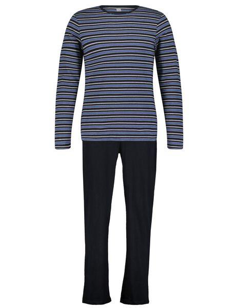 herenpyjama strepen donkerblauw donkerblauw - 1000025089 - HEMA