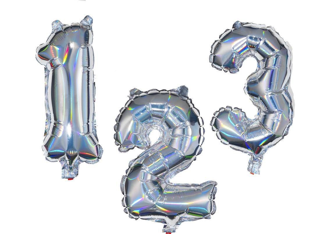 HEMA Folieballon Cijfers 0-9 Holografisch Zilver (zilver)