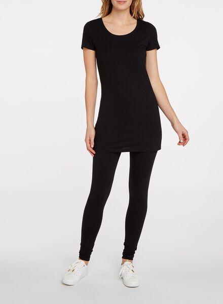 dames t-shirt extra lang zwart zwart - 1000005126 - HEMA
