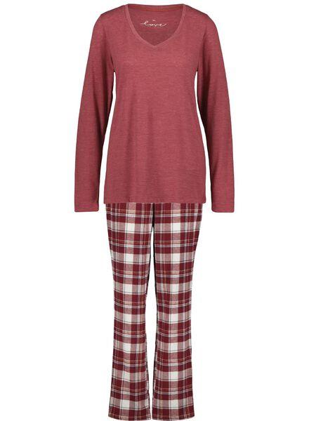 damespyjama rood rood - 1000017256 - HEMA