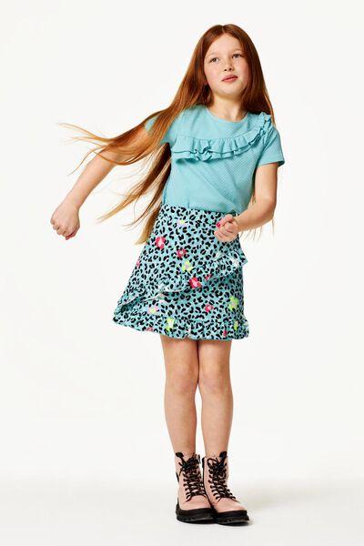 kinder t-shirt ruffle blauw blauw - 1000023419 - HEMA