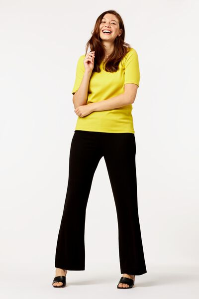dames t-shirt rib geel XL - 36204144 - HEMA