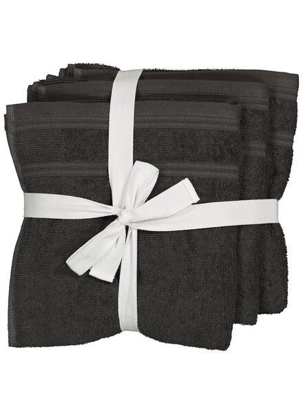 handdoeken - 50 x 100 cm - katoen met rPET - donkergrijs - 4 stuks - 5230002 - HEMA