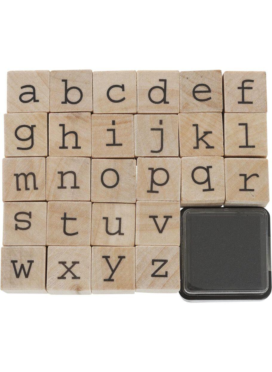 Mooie Houten Stempels.Stempelset Alfabet