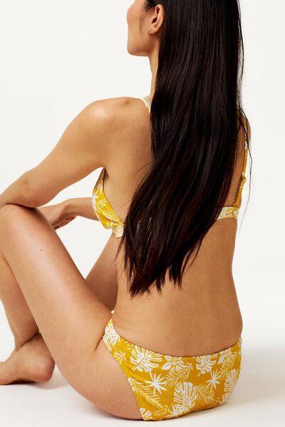 dames bikinibroekje - rib flower geel XL - 22350235 - HEMA