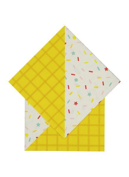 servetten - 33 x 33 - papier - geel confetti - 20 stuks - 60020073 - HEMA