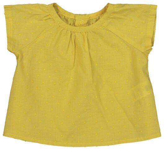 newborn set - tuniek en broek - biologisch katoen geel 68 - 33427634 - HEMA