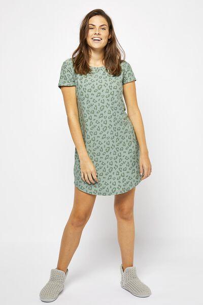 damesnachthemd micro groen S - 23420561 - HEMA