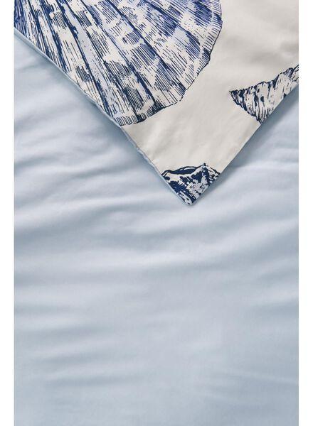 dekbedovertrek - 200 x 200 - hotel katoen satijn - wit schelp zeeblauw 200 x 200 - 5710074 - HEMA