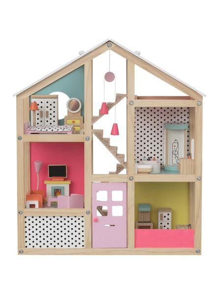 gemeubileerd houten poppenhuis 52.5 x 24 x 61 cm - 15122414 - HEMA