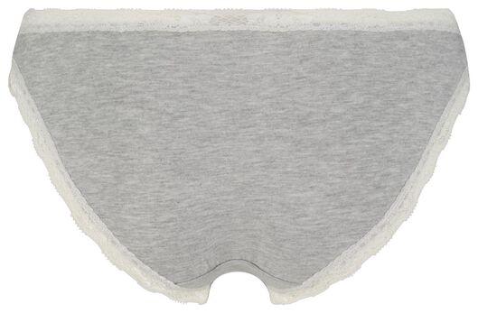 damesslip stretch katoen/kant grijsmelange grijsmelange - 1000025027 - HEMA