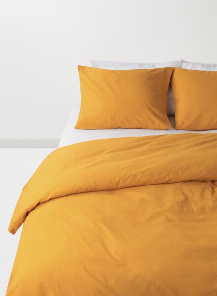 soft cotton dekbedovertrekset 140 x 200 cm okergeel 140 x 200 - 5710104 - HEMA