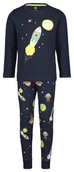 kinderpyjama ruimte glow in the dark blauw blauw - 1000020652 - HEMA