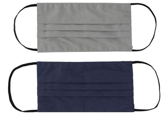 mondkapjes volwassenen - stof grijs - 2 stuks - 12000028 - HEMA
