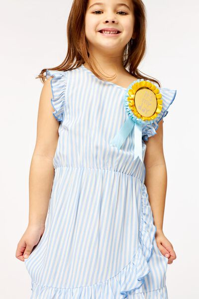kinderjurk ruffel strepen blauw 122/128 - 30851651 - HEMA