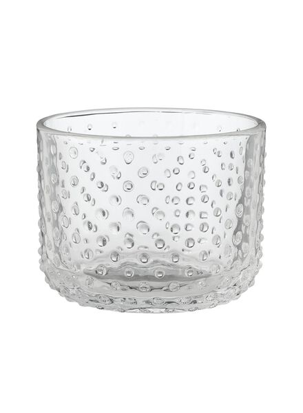 sfeerlichthouder - Ø 8.5 cm - transparant glas stip - 13300097 - HEMA