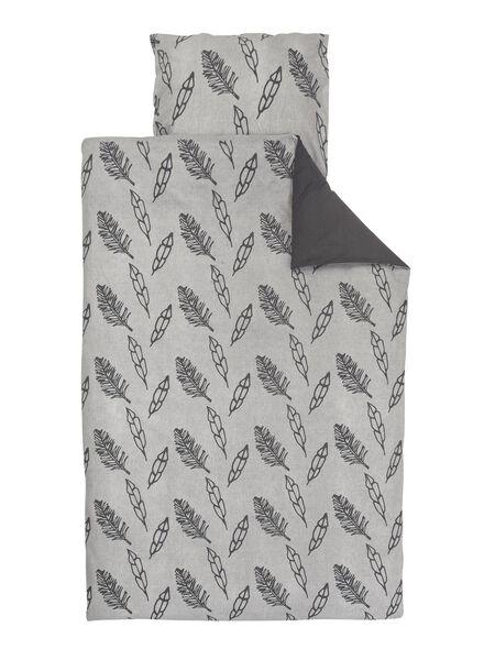 dekbedovertrek - zacht katoen - 140 x 200/220 cm - grijs veren - 5700183 - HEMA