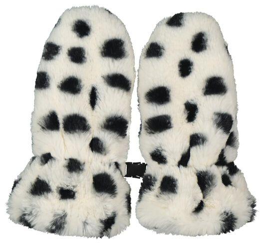 kinderwanten fluffy stip zwart/wit zwart/wit - 1000020554 - HEMA