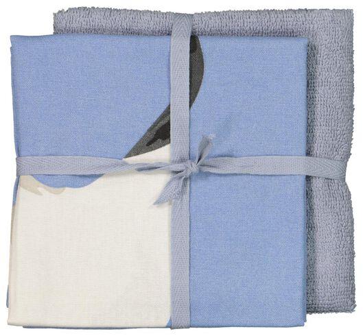 thee- en keukendoek grijs/blauw- 2 stuks - 5400047 - HEMA