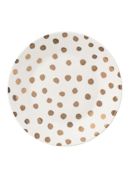 ontbijtbord - 20 cm - Bergen - wit/goud stip - 9670104 - HEMA
