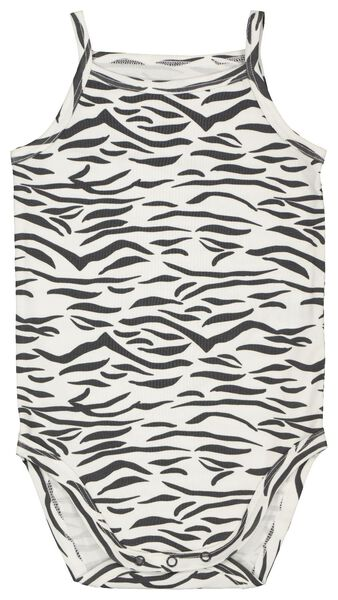 romper organic katoen stretch zebra zwart/wit 86/92 - 33320424 - HEMA