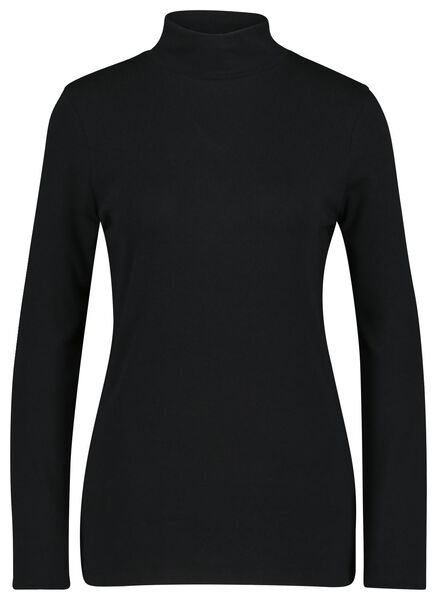 dames t-shirt met col zwart zwart - 1000022623 - HEMA