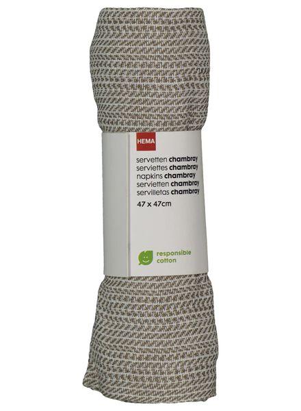 servetten - 47 x 47 - chambray katoen - wit - 2 stuks - 5300074 - HEMA