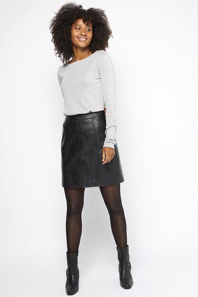 dames sweater velours lichtgrijs S - 36269723 - HEMA