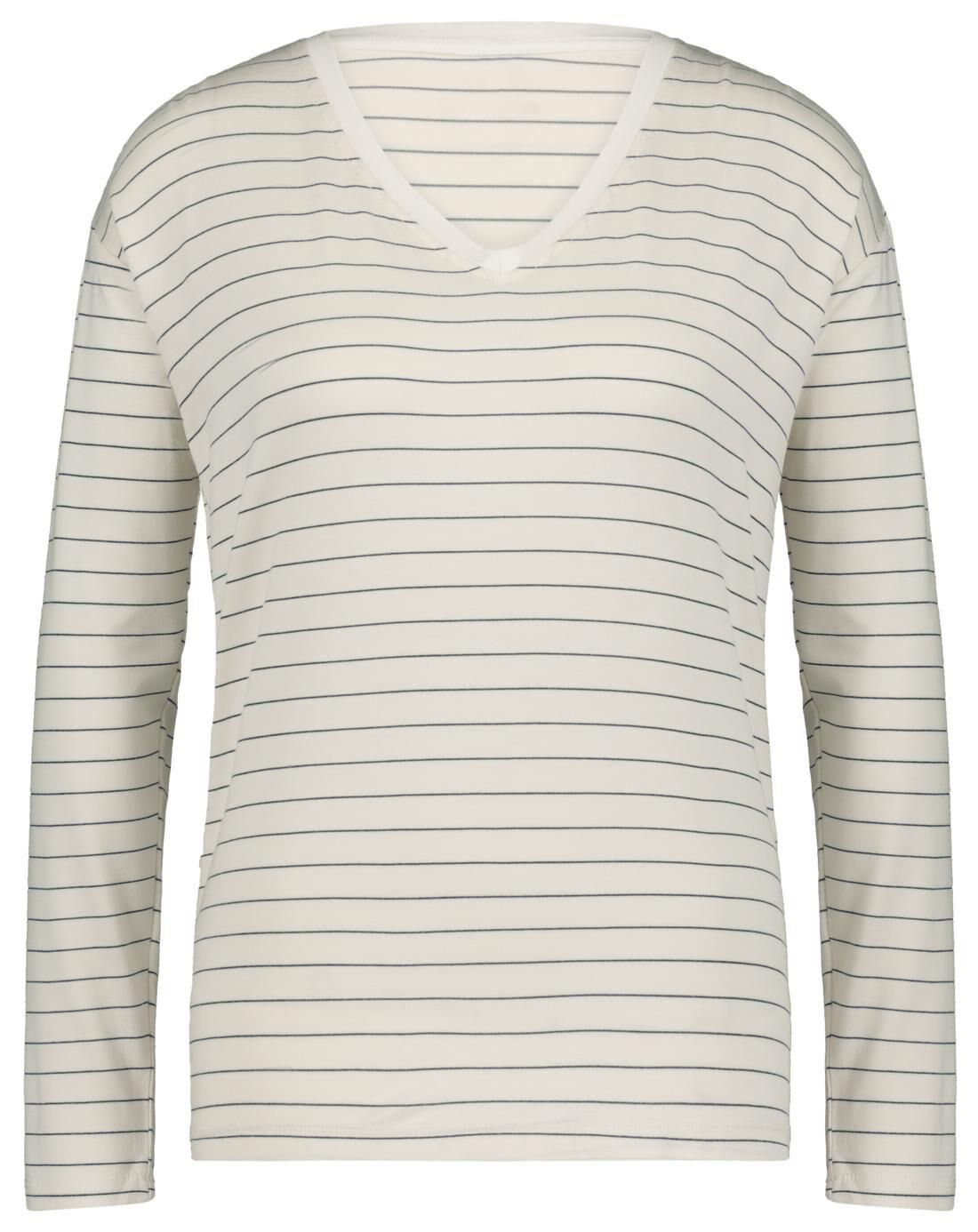 HEMA Dames T-shirt Streep Wit (wit)