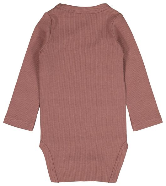 newborn-prematuur overslagromper rib bamboe stretch roze 68 - 33413915 - HEMA