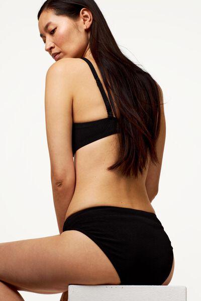 dames bikinibroekje - structuur zwart M - 22340372 - HEMA