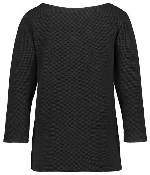 dames t-shirt structuur zwart - 1000021225 - HEMA