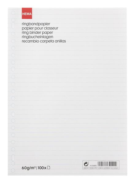 ringbandpapier gelinieerd - 14130052 - HEMA