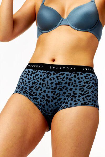 damesboxer stretch katoen middenblauw XL - 19609925 - HEMA