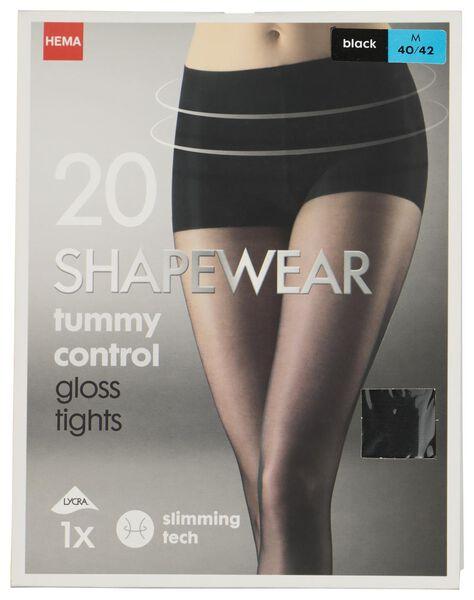 tummy control panty 20 denier zwart 36/38 - 4042311 - HEMA
