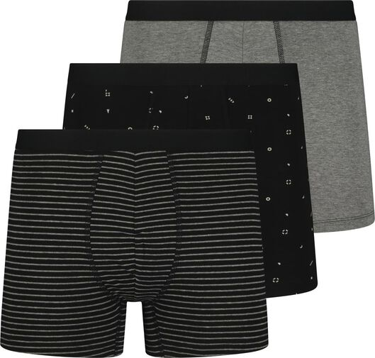 3-pak herenboxers lang katoen stretch zwart zwart - 1000018782 - HEMA