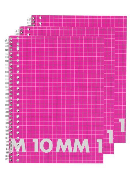 3-pak collegeblokken A4 geruit 10 mm - 14522523 - HEMA