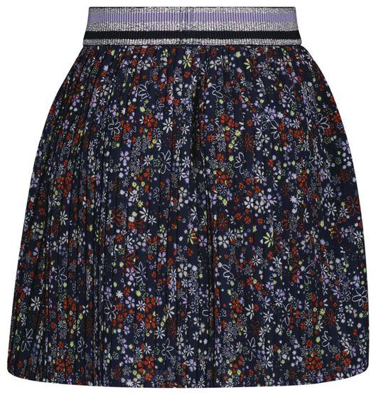 kinderrok plissé bloemen donkerblauw donkerblauw - 1000024973 - HEMA