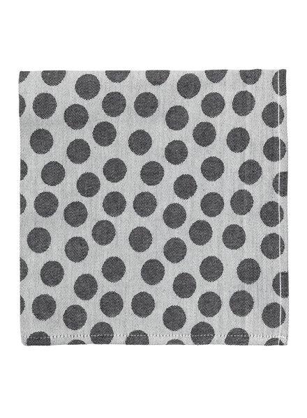 theedoek - 65 x 65 - katoen - grijs stip theedoek zwart/wit - 5440226 - HEMA