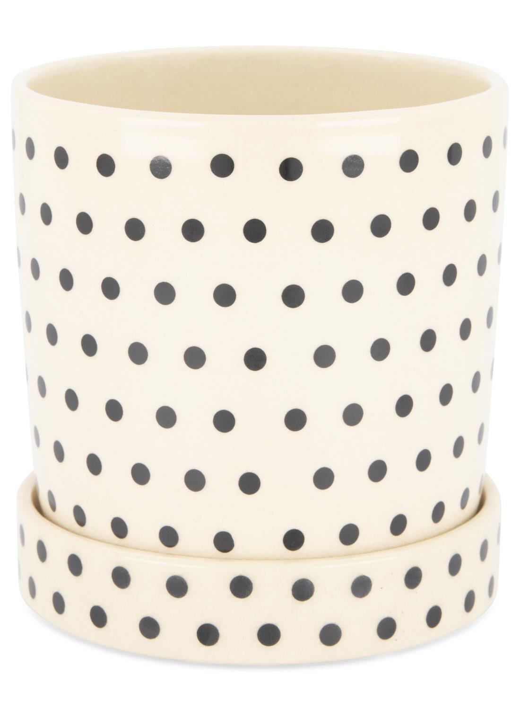 HEMA Bloempot Ø 13.5 Cm – Keramiek – Zwart/wit (zwart)