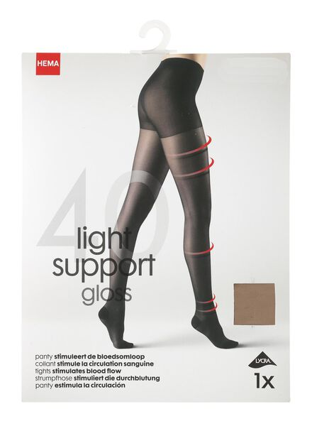 light support gloss panty 40 denier naturel 40/42 - 4042337 - HEMA