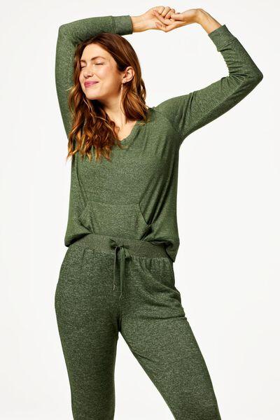 dames pyjamabroek sweat groen L - 23419103 - HEMA