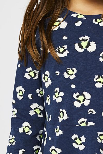 kinderjurk bloemen donkerblauw 158/164 - 30800774 - HEMA
