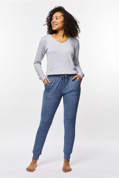 dames pyjamabroek sweat blauw S - 23400771 - HEMA