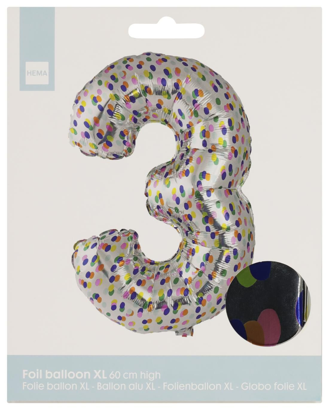 HEMA Folieballon XL Cijfer 3 - Confetti (multi)
